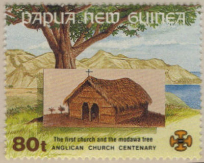 80 toea Stamp - Anglican Centenary